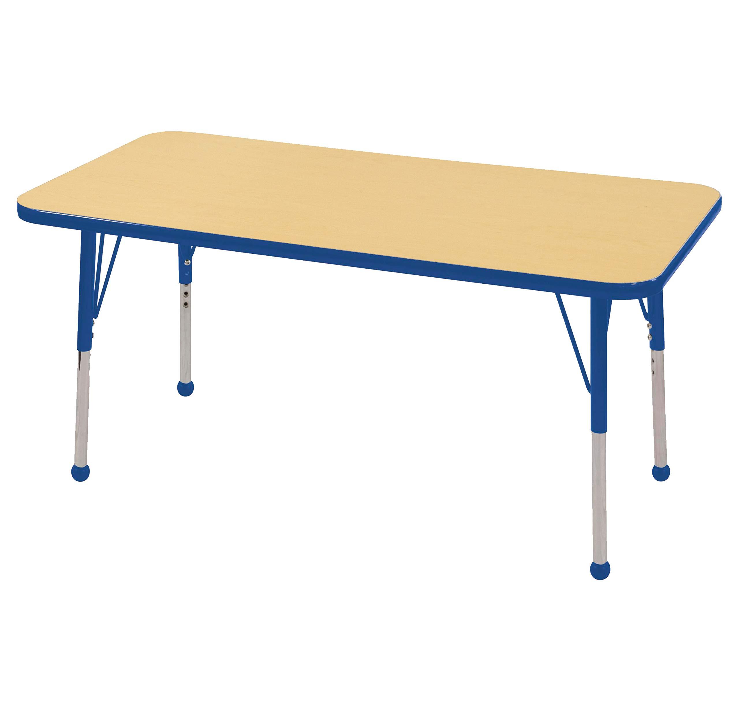 ECR4Kids Mesa Everyday 24'' x 48'' Rectangular School Activity Table, Standard Legs w/ Ball Glides, Adjustable Height 19-30 inch (Maple/Blue)