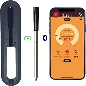 DESPFUL Wireless Meat Thermometer - 33ft Range True Smart Bluetooth Connectivity Flesh Thermometer for Grill Oven Smoker Rotisserie BBQ Candy Kitchen Food