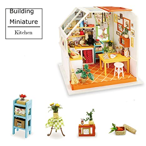 ROBOTIME Green House Building   DIY Miniature Dollhouse Accessories   Dolls  House Furniture, Renovation Kits