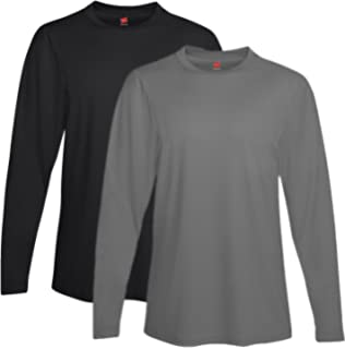 2971dcb06 Hanes Men s Two Pack of Long-Sleeve Cool Dri T-Shirts at Amazon ...