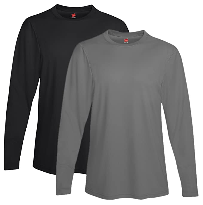 1787acc1 Image Unavailable. Image not available for. Color: Hanes mens Cool DRI  Performance Long-Sleeve T-Shirt(482L)-Black
