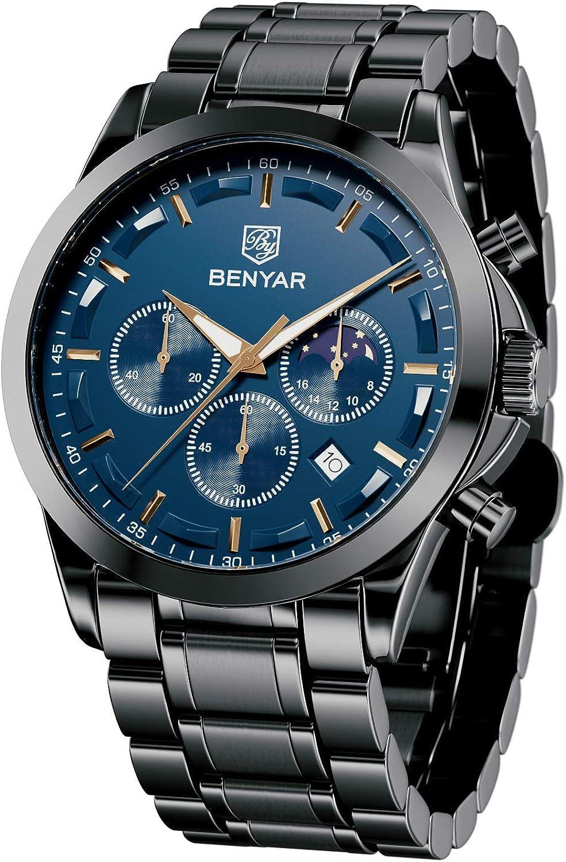 BY BENYAR Sports Casual Reloj de Cuarzo analógico Impermeable Cronógrafo de Acero Inoxidable para Hombre