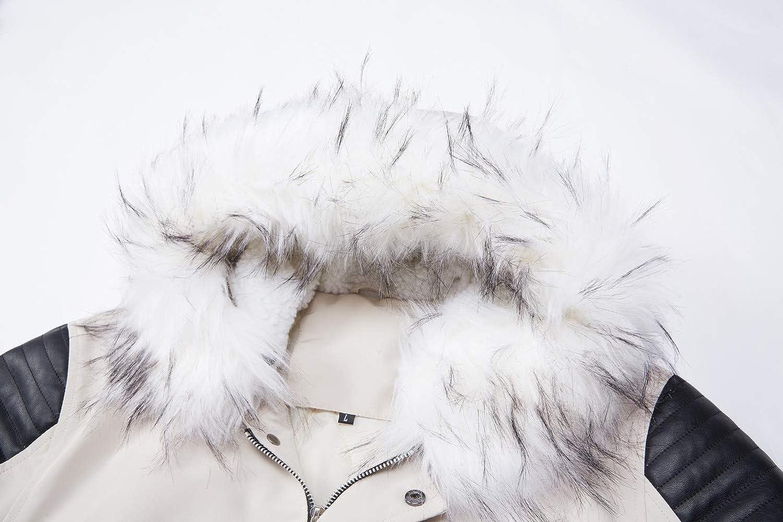 Homme Classique Hiver détachable à Capuche Blousons Rembourrée Manteau Parka Épais Chaud Fourrure Long Veste Mens Hooded Jacket A-blanc