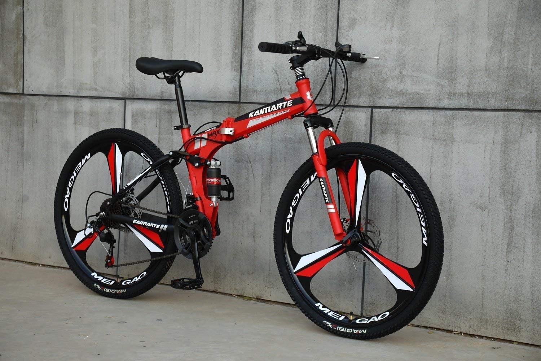 CDFC Deportes/Bicicleta de montaña Plegables 24/26 Pulgadas 3 Cortador de Ruedas, Rojo