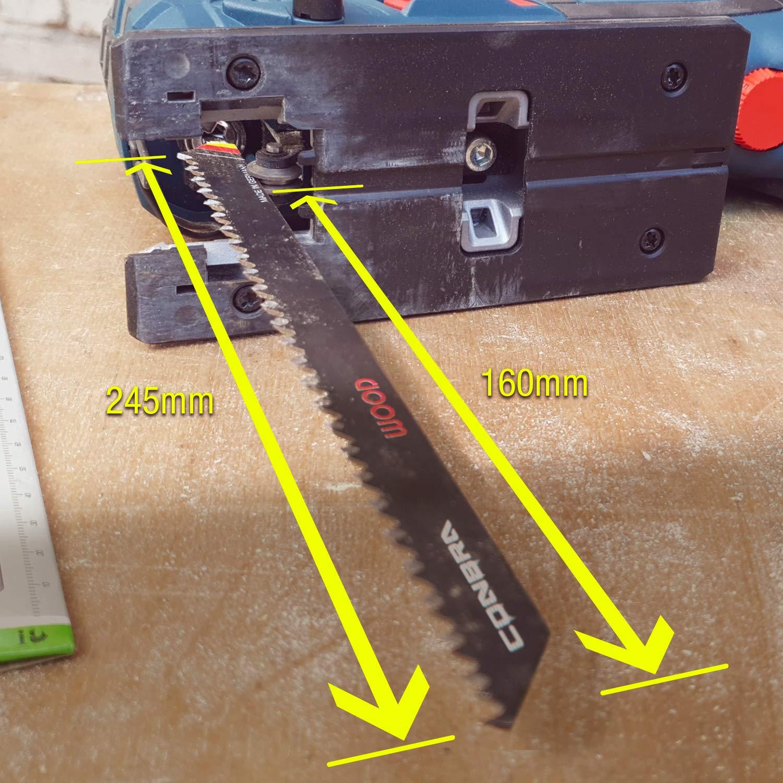 Bosch 5 Stichs/ägebl/ätter Metabo Hochwertige S/ägebl/ätter beidseitig Bl/ätter kompatibel mit Stichs/äge von Makita sauberer Schnitt CONBRA /® Stichs/ägenbl/ätter f/ür Holz 100mm Extreme Kurve