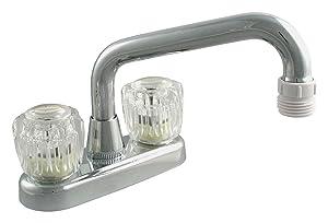 LDR 012 5205 Laundry Faucet, Dual Acrylic Handle, AB1953-Lifetime Plastic, Chrome
