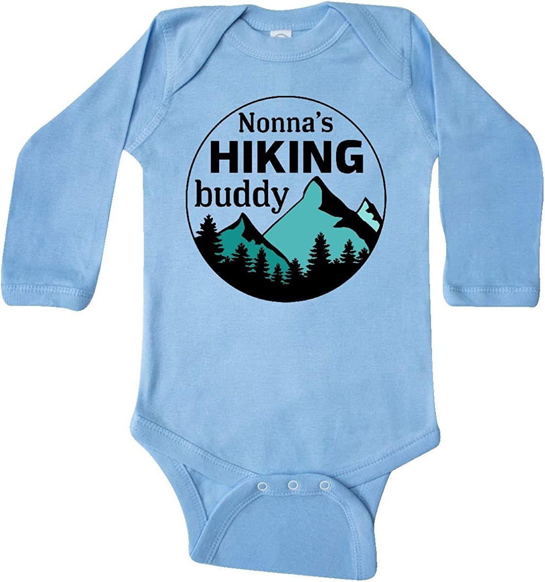 inktastic Nonnas Hiking Buddy with Mountains and Trees Long Sleeve Creeper