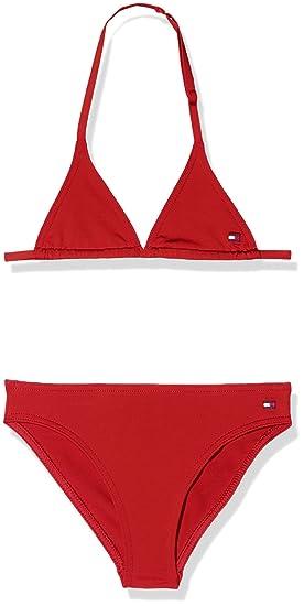 12bc5f6859 Tommy Hilfiger Girl's Triangle Bikini Set Swimwear (Tango Red 611), 110  (Size