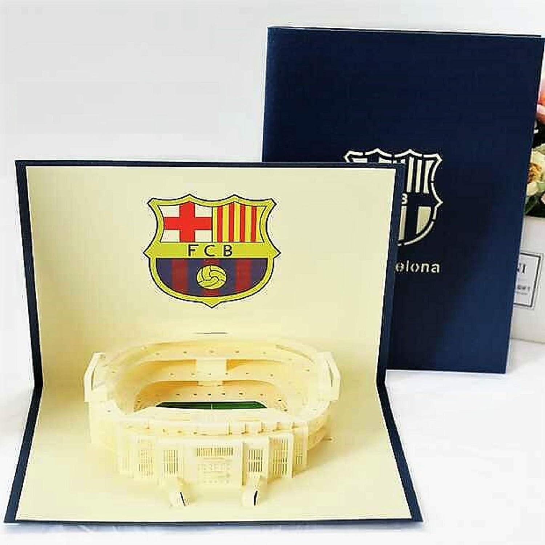 BC Worldwide Ltd 3D pop up card FC Barcelona Camp Nou estadio cumpleaños, día del padre, día de San Valentín, aniversario de bodas, Navidad, día de la madre, regalo de año nuevo: