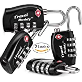 2 x TSA Security Padlock - 4-Dial Combination Travel Suitcase Luggage Bag Code Lock (Black) - Lifetime Warranty