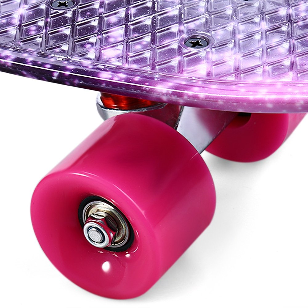 SZYT 22 inch four wheel skating printed fish plate single rocker children skateboard dance board CL-95 purple starry sky by SZYT (Image #5)