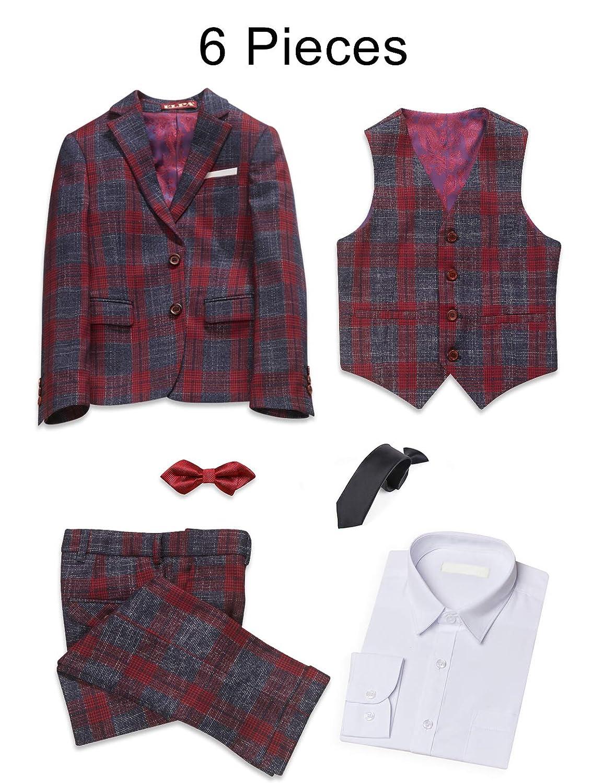 481206672 Amazon.com  ELPA ELPA Boys Suits 6 Pieces Slim Fit Plaid Suit ...