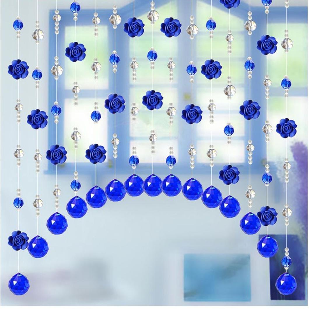 Coohole Crystal Glass Rose Bead Curtain Living Room Bedroom Window Door Wedding Home Decor (F)