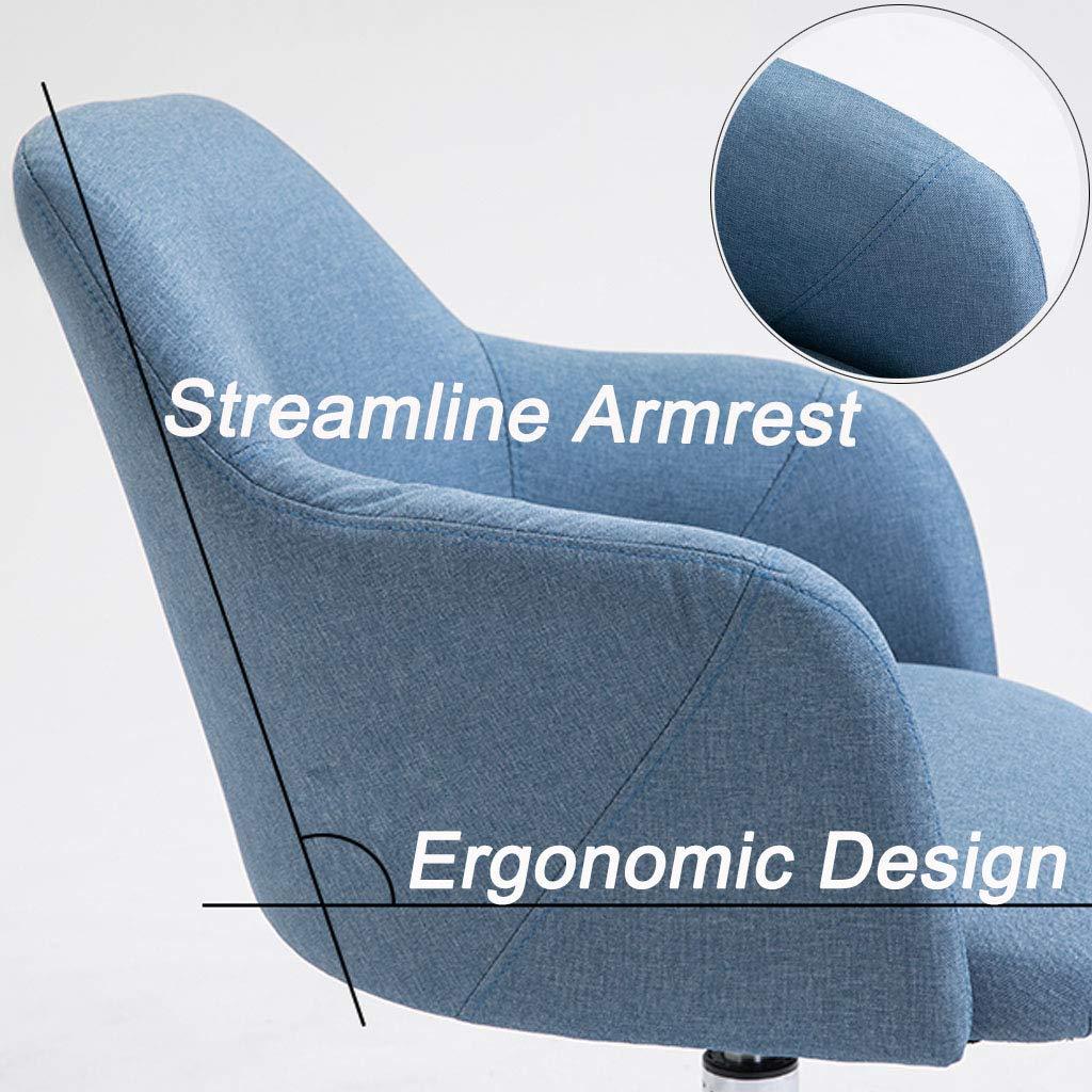Svängbar stol hem ryggstöd lat stol mitten av ryggen dator skrivbord stolar verkställande kontorsstol med hudvänlig linnetyg ergonomisk design 360 ° rotation, blå BLÅ