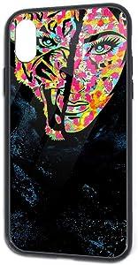 Stencil Graffiti iPhone X/Xs TPU Glass Phone Case, Protective Phone Case Cover for iPhone X, iPhone Xs,5.8inch