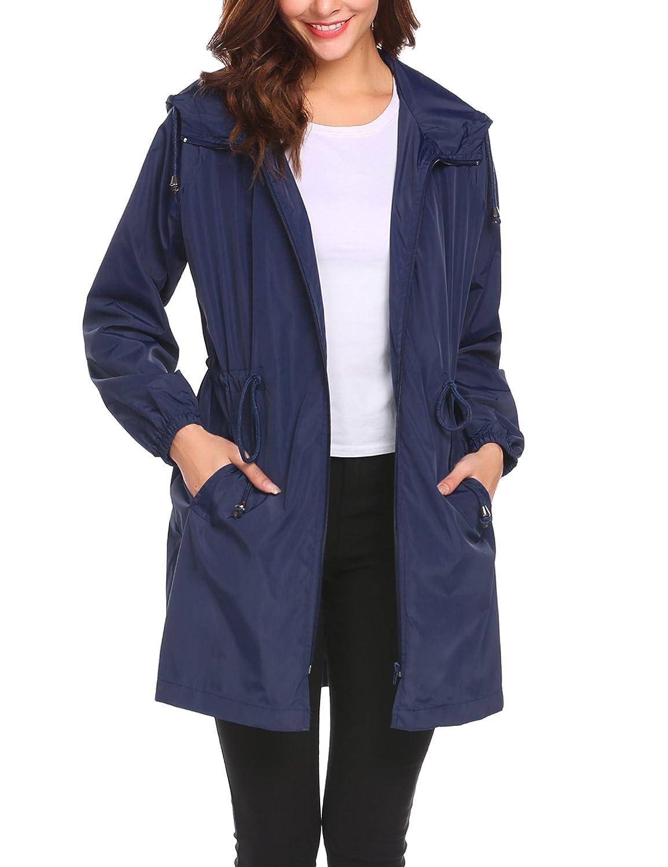 Navy bluee Pasttry Women's Waterproof Raincoat Lightweight Hooded Rain Jacket Windbreaker
