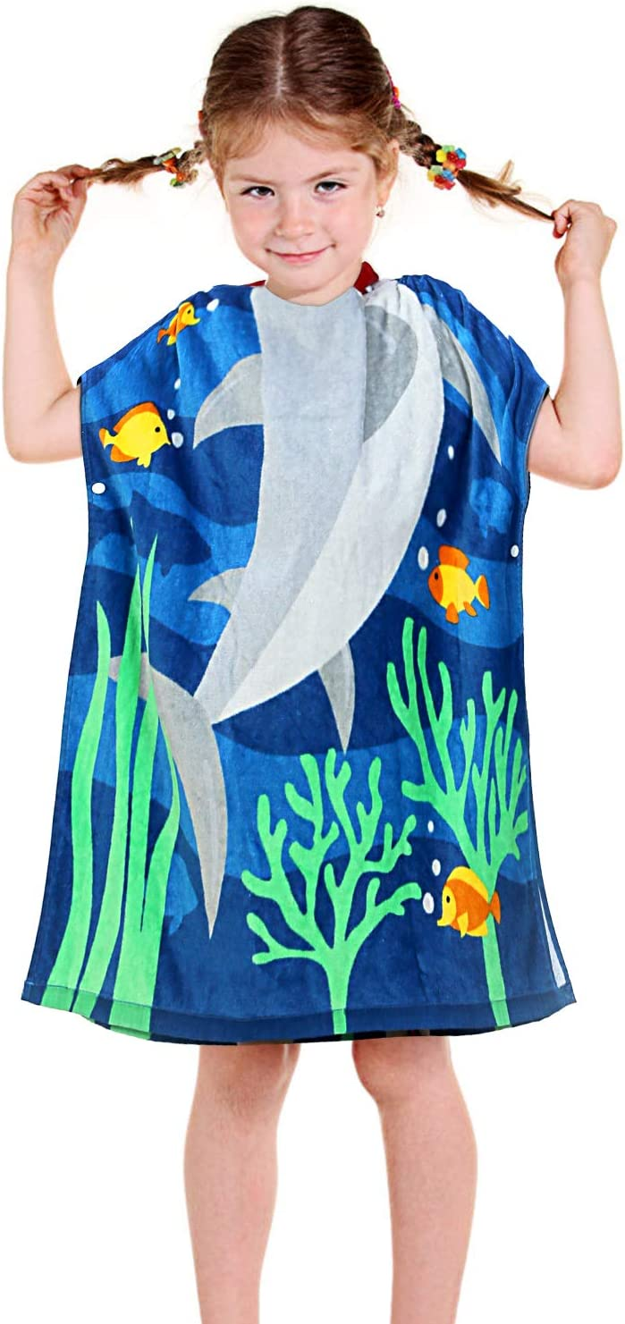 YISUN Shark Hooded Towels for Kids, 100% Cotton Ultra Breathable Soft Poncho Towel for Bath Beach and Pool, 24x28 inches Large Size Baby Bath Shark Towel