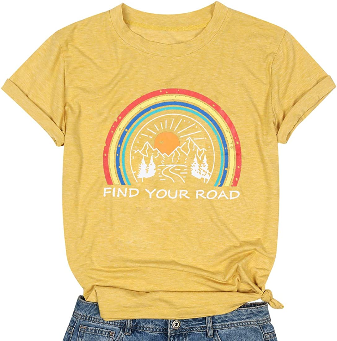Find Your Road T Shirt Nature Graphic Tee T Shirt for Women Letter Print T Shirts with Saying