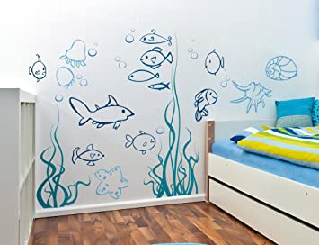 Amazoncom Under The Sea Fish Wall Decals Nursery Childrens - Nursery wall decals amazon