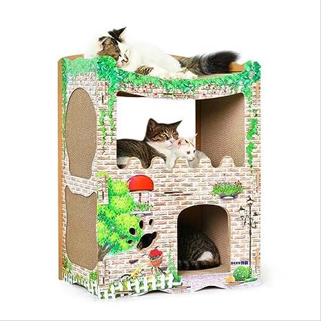 Cat House Cat con Casa Gato Scratch Tablero Grande De Papel ...