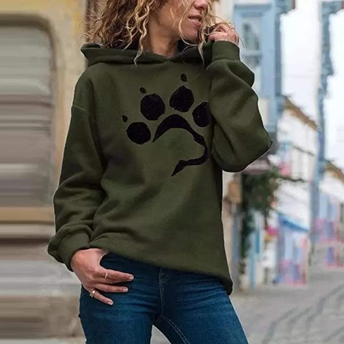 Lozeny Women Dog Paw Graphic Rhinestone Pullover Tops Shirts Cute Crewneck Long Sleeve Sweatshirts Tee Casual Sweaters