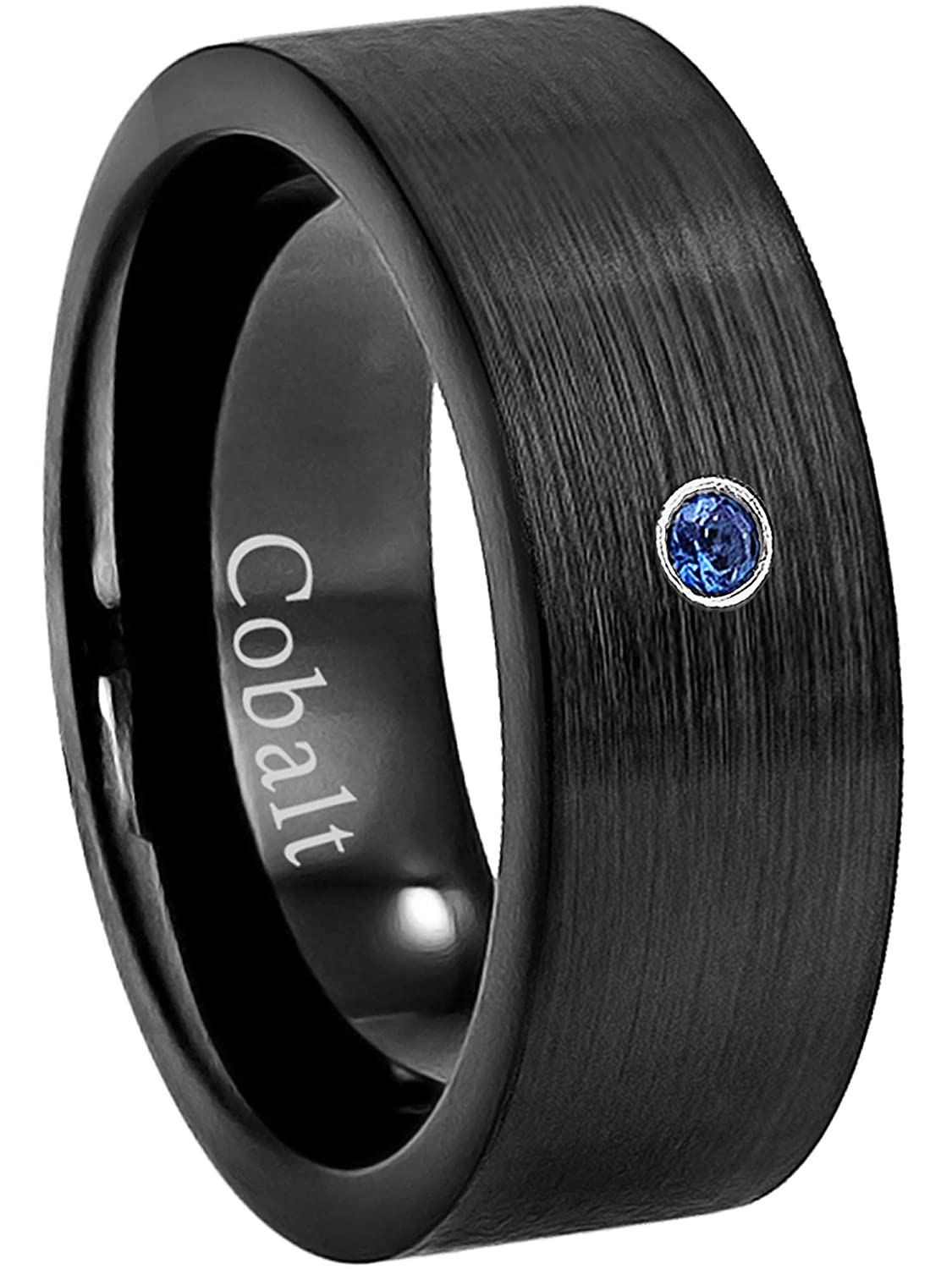 0.07ct Blue Sapphire Cobalt Ring September Birthstone Ring Jewelry Avalanche 8MM Comfort Fit Brushed Black Ion Pipe Cut Mens Cobalt Chrome Wedding Band