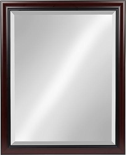 Kate and Laurel Dalat Framed Wall Mirror, 26×32, Cherry