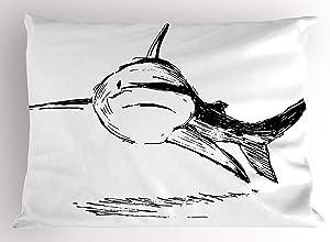 SPXUBZ Shark Doodle Image of Cat Shark Tropic Atlantic Saltwater Sketch Monster Primitive Art Black White Home Decor Square Indoor Pillowcase Size: 20x36 Inch(Two Sides)