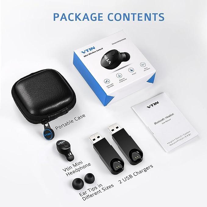 VTin Bluetooth auricular, Mini auriculares inalámbricos con Bluetooth 4.1 EDR en oreja Earbud auriculares manos libres con micrófono cancelación de ruido ...