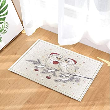 Amazon Com Atjsc Christmas Bath Rugs Tow Birds On Tree Branch Give