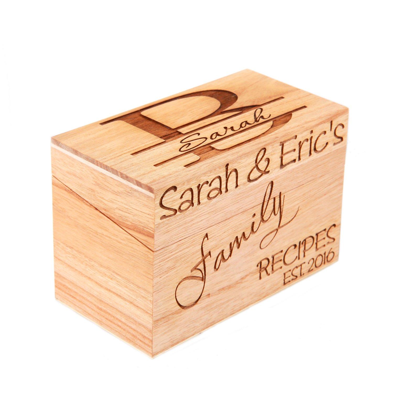 LGU(TM) Monogrammed Personalized Custom Family Recipe Box Wood Box