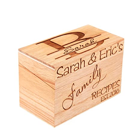 Amazon lgutm monogrammed personalized custom family recipe lgutm monogrammed personalized custom family recipe box wood box thecheapjerseys Image collections