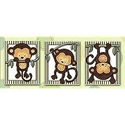 Little Mod Pod Monkeys - Nursery Art Prints (5x7, (3) Set of Three)