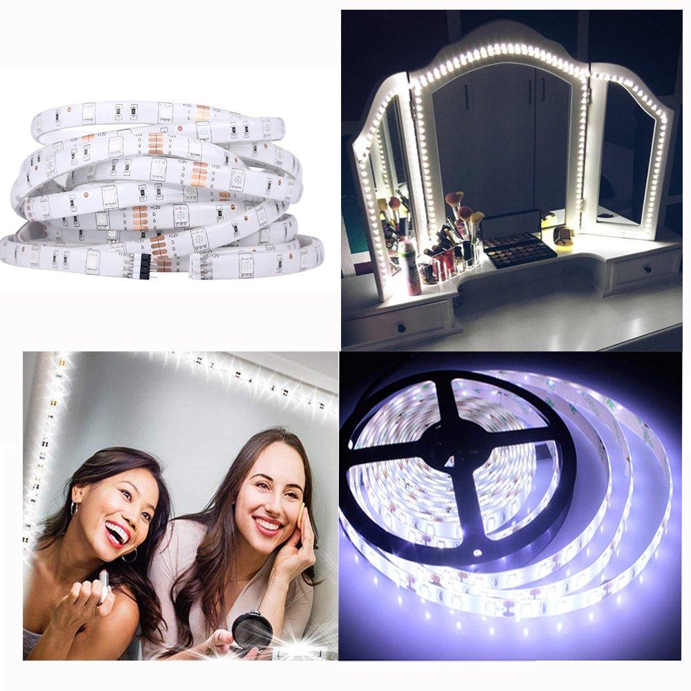 Luces LED Para Espejo, Doris Direct Kit De Luces Para Maquillaje Cosmético, Luces LED Para Espejo Con Regulador De Intensidad Y Fuente De Poder, 240 Leds/13ft/4M (Espejo No Incluido) [Clase de eficiencia energética A+++]