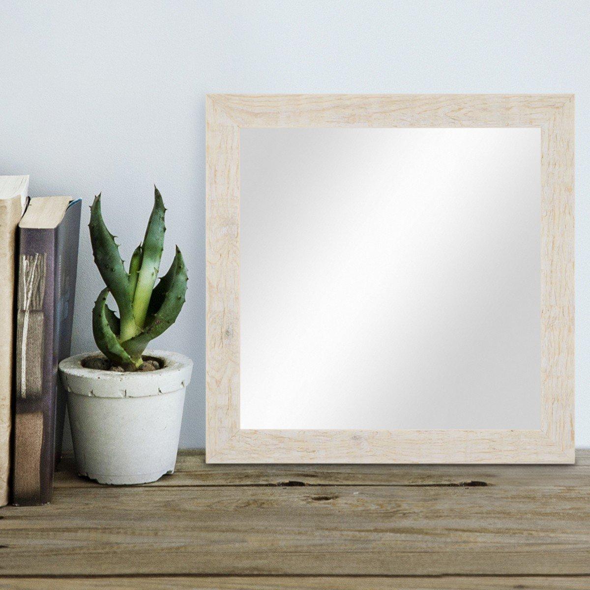 PHOTOLINI Wand-Spiegel 30x30 cm im Massivholz-Rahmen Strandhaus-Stil ...