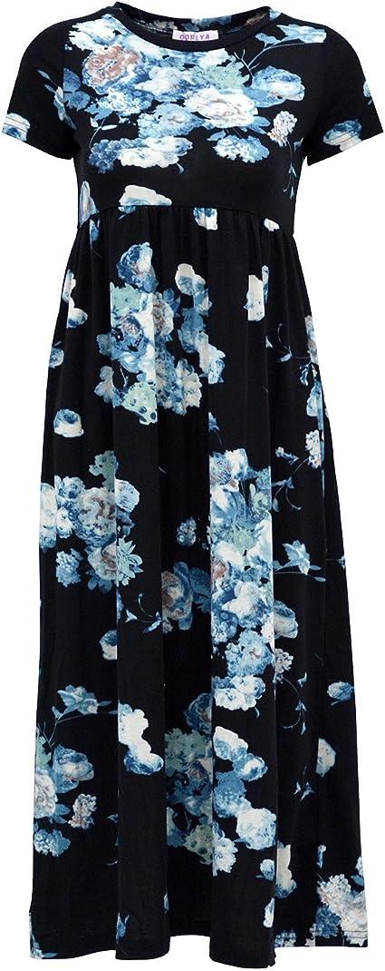 Girl's Short Sleeve Floral Print Loose Casual Long Maxi Dress
