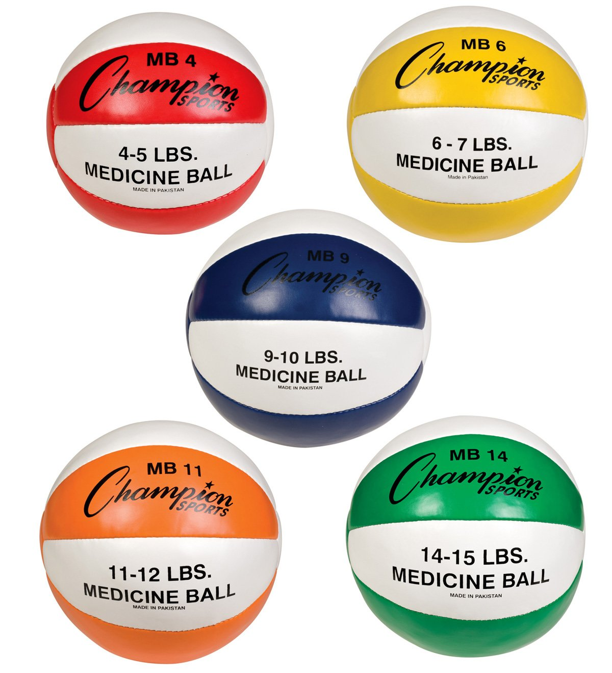 Champion Sports Leather Medicine Ball Set of Five by Champion