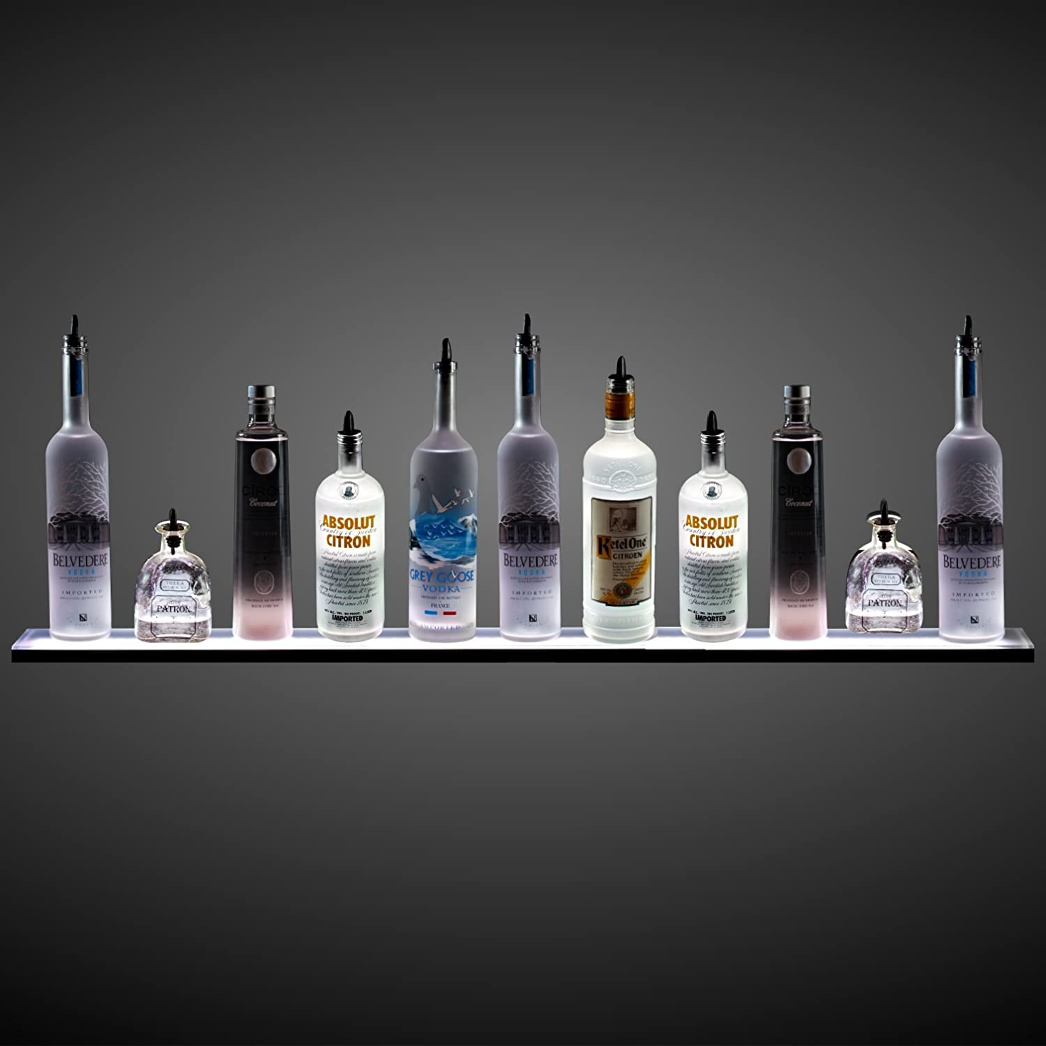 Amazon 3 wall mounted led liquor shelf with wireless rf amazon 3 wall mounted led liquor shelf with wireless rf remote home bar lighting kitchen dining amipublicfo Image collections