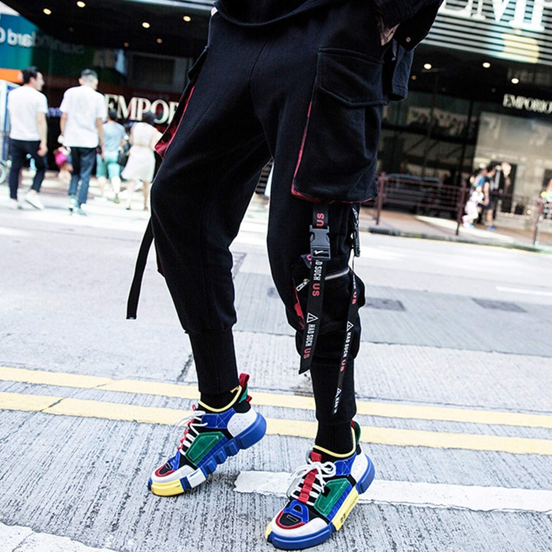 Romantico 2019 Men Ribbons Pockets Harem Pants Men Spring Casual Sweatpants Hip Hop Joggers Streetwear Black QA7OT