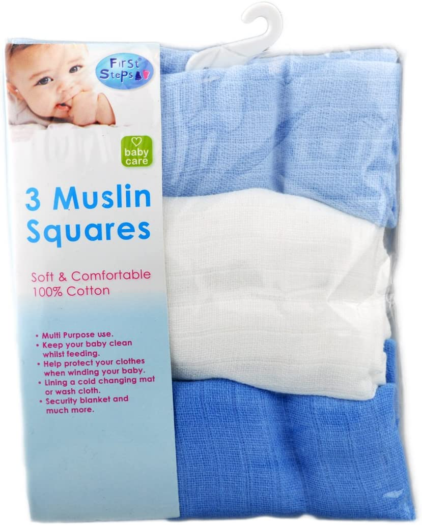 Baby Muslin First steps cloth diapers 3 Pack 60x 60cm