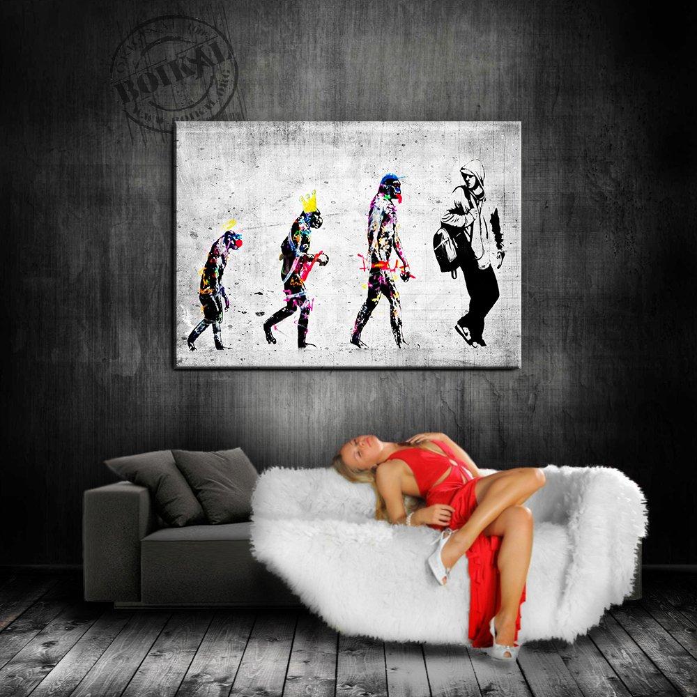 /Impression sur toile mont/ée sur ch/âssis D/éco Pop Art Reproduction Street Art Graffiti Poster Tableau Tirage d/'art Toile murale Banksy Evolution/ Peinture murale