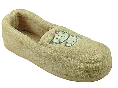 Zapatos tipo mocasín para señora, con forro polar cálido, diseño de gato, talla