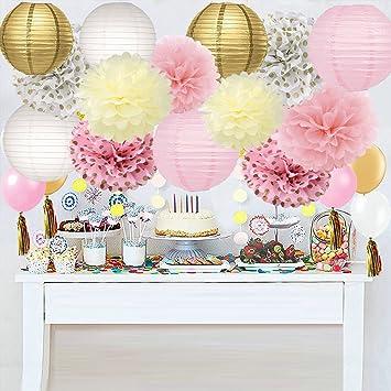 Niña Fiesta de cumpleaños Decoración Kit Oro Rosa Baby ...