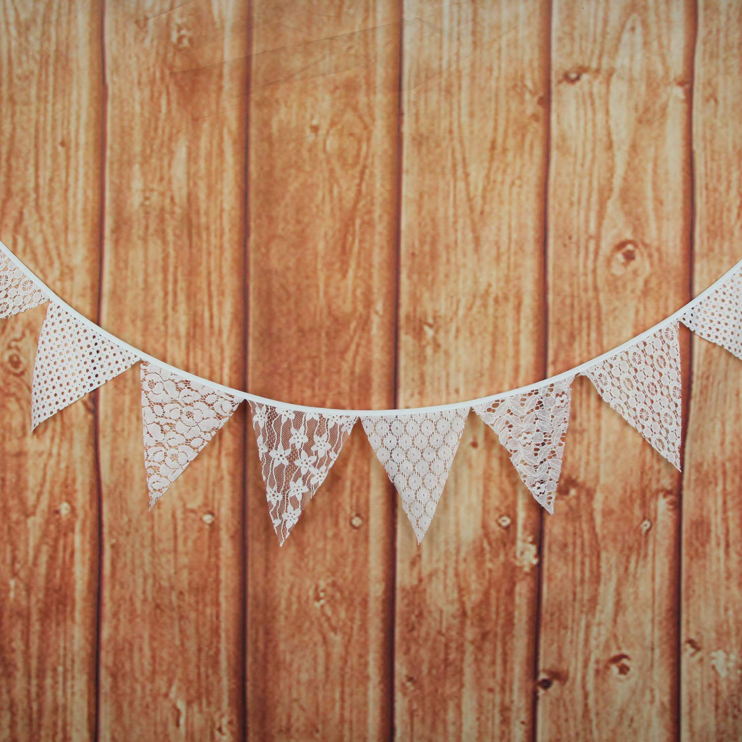 Off-White Birthday Party Outdoor /& Home Decoration INFEI 3M//9.8Ft Mixed White Lace Fabric Flags Bunting Banner Garlands for Wedding