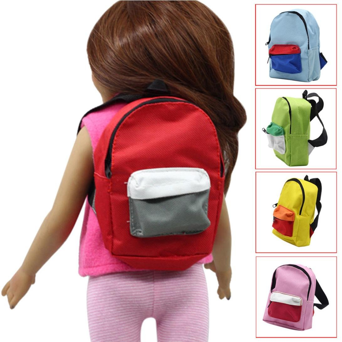 Sunbona Fits for 18' American Girl Dolls, Double Straps Backpack Schoolbag Doll 18 inch Double Straps Backpack Schoolbag Doll 18 inch (Blue)