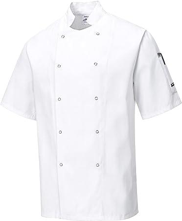Portwest Kent Bianco//Nero Colore Giacca da Cuoco a Maniche Corte