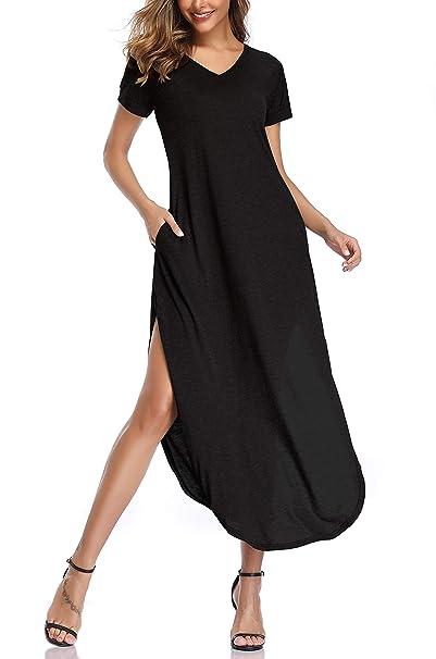 Amazon.com: OTEN maxi vestidos de mujer casual Split V ...
