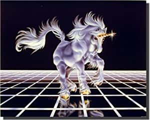 Fantasy Mythical Wall Decor Up From the Grid (White Unicorn Horse) Art Print Poster (16x20)