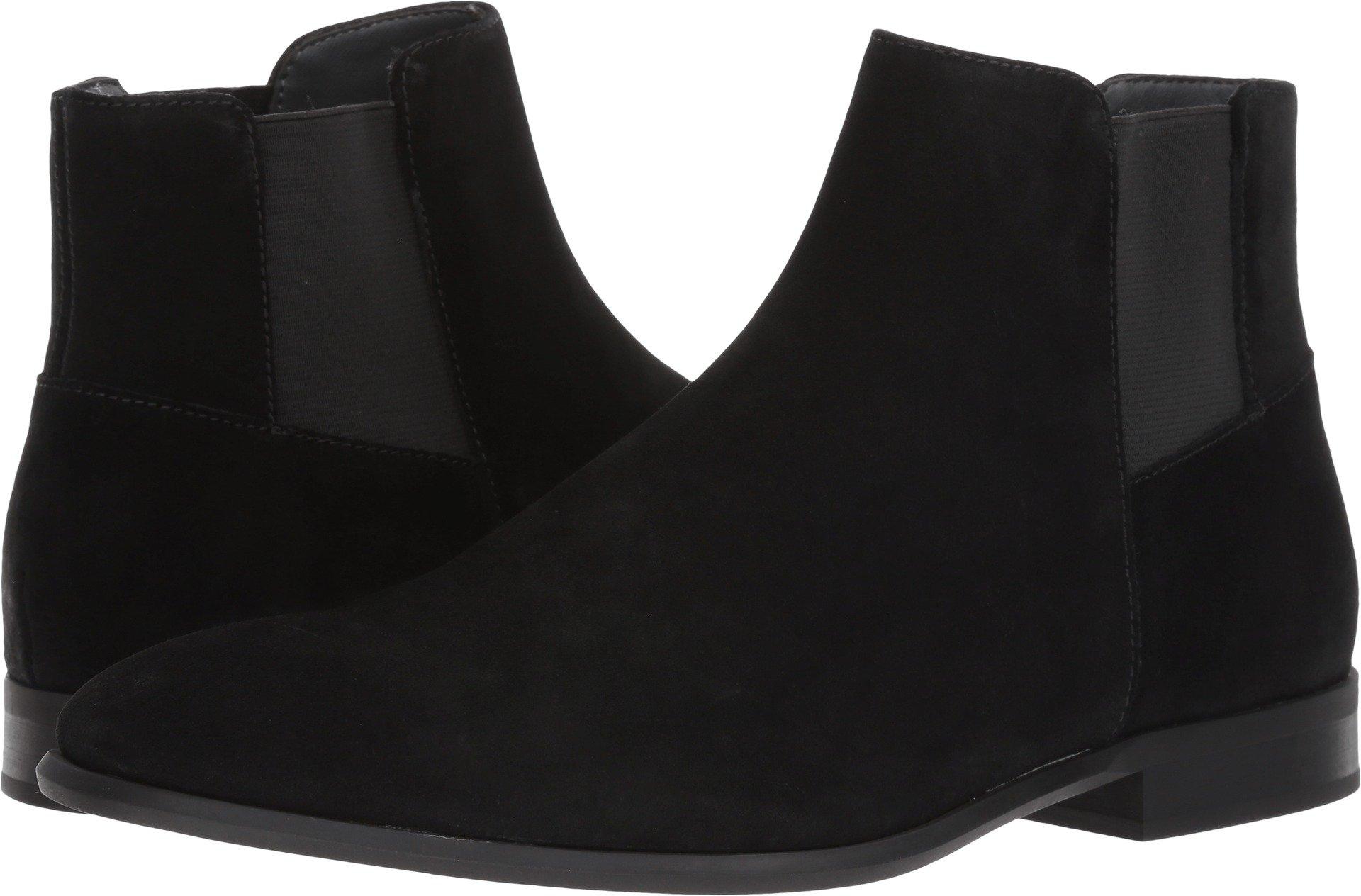 Calvin Klein Men's Larry Calf Suede Ankle Bootie, Black, 9.5 M US