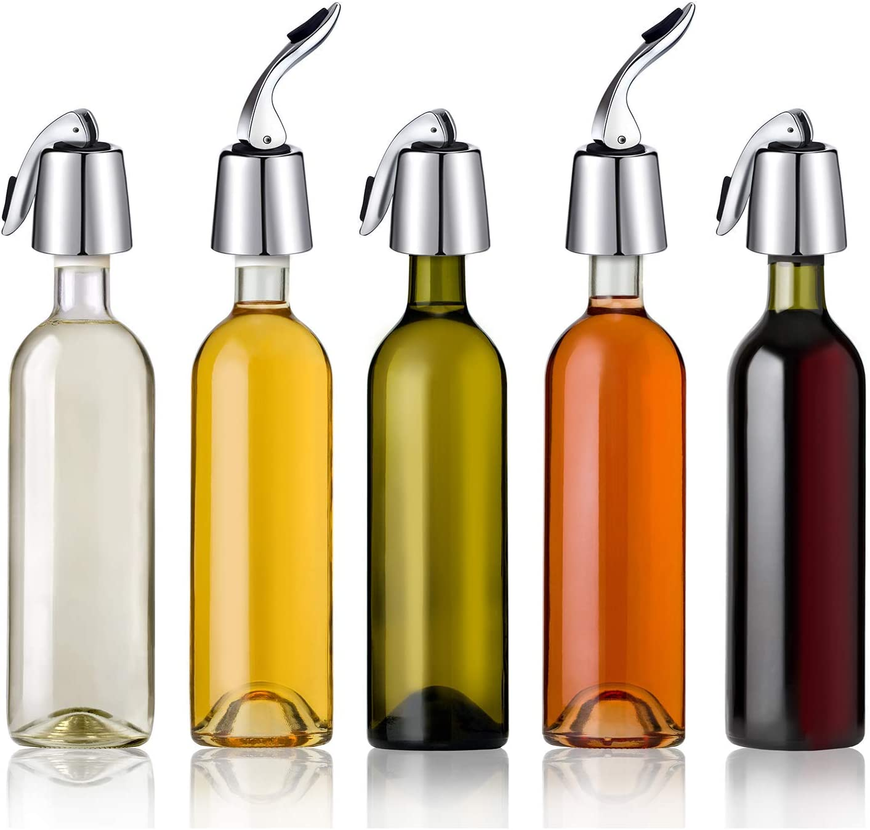 Wine Stopper Bottle Sealer 2 Pack Stainless Steel Saver Stoppers for Wine Sealed Keeping Wine Fresh